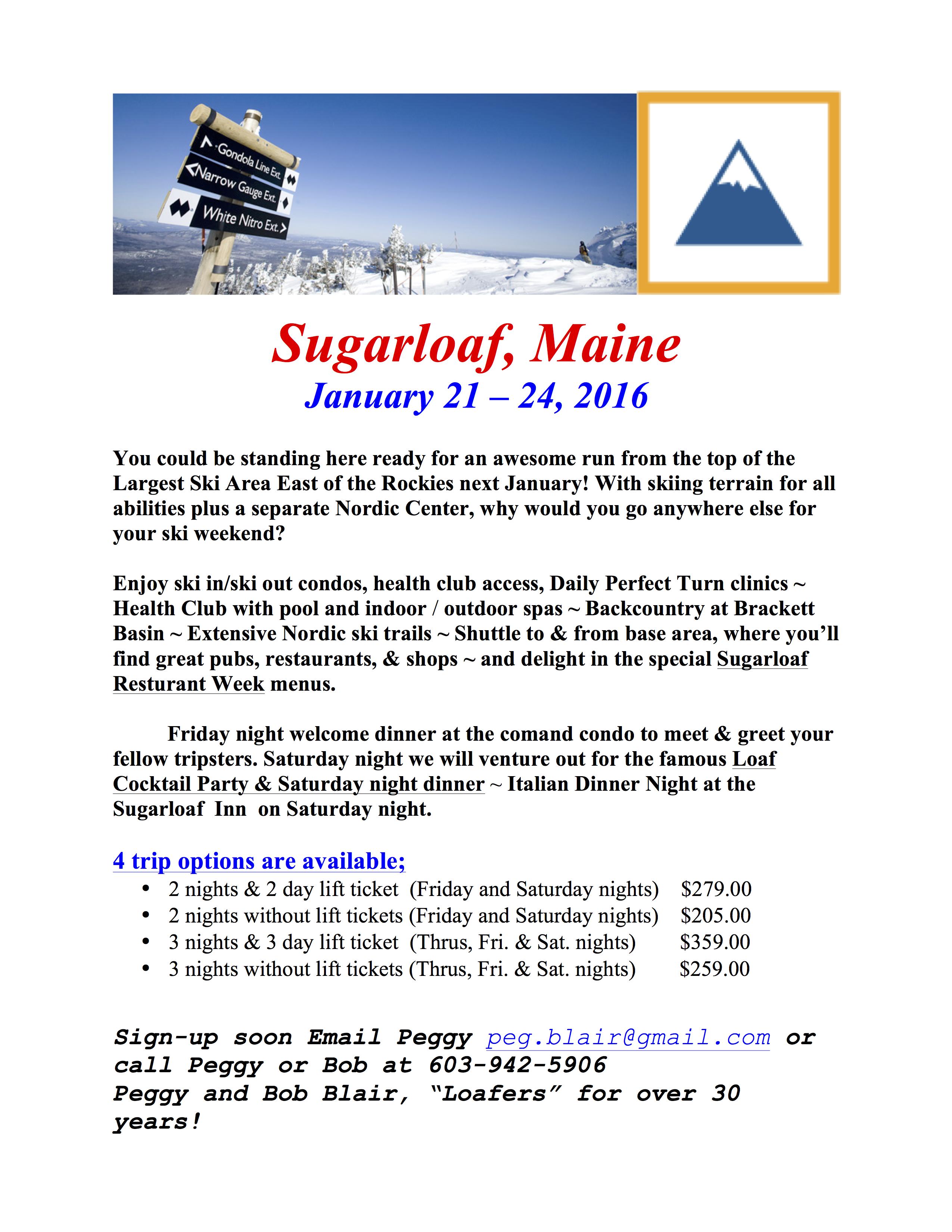 Seacoast Ski Club Sugarloaf Me